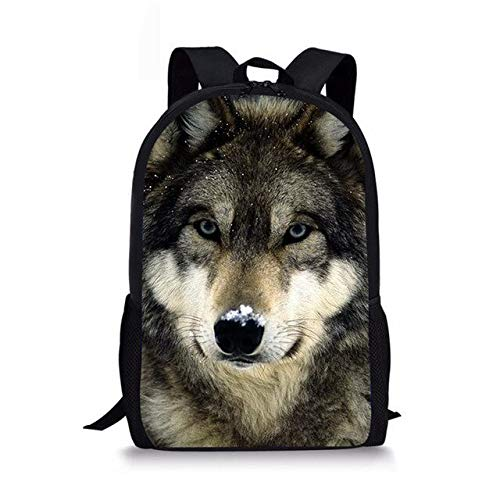 Mochila para niños Mochilas Impresas en 3D Wolf Mochilas Escolares para niños y niñas Mochilas Escolares para niños de Marcas Famosas Mochila Diaria 44 * 28 * 13CM D