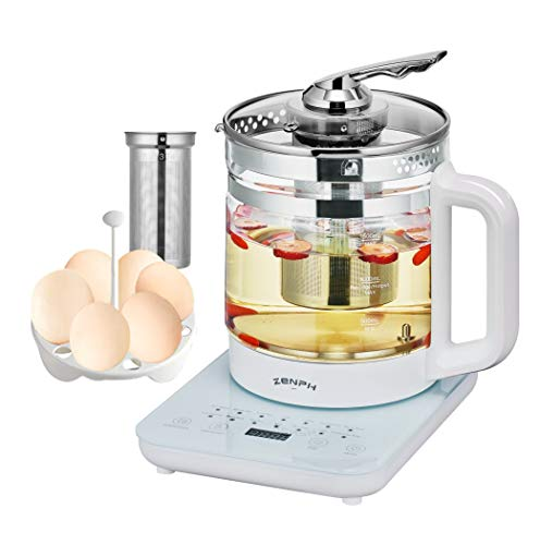 Electric Kettle Tea kettle, Zenph 1.5L Glass Teapot with Removable Infuser, Multifunction Glass Teapot Dash Egg Cooker, Electric Tea Kettles Automatic Shut Off with Smart Touch Panel & 18 Smart Menu.
