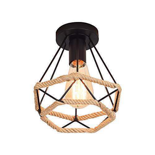 20CM Lámpara de Techo Retro Vintage de Plafón Industrial jaula en forma de diamante de Metal con cuerda de cáñamo, hierro, lámpara colgante para salón, dormitorio, decoración de casa,