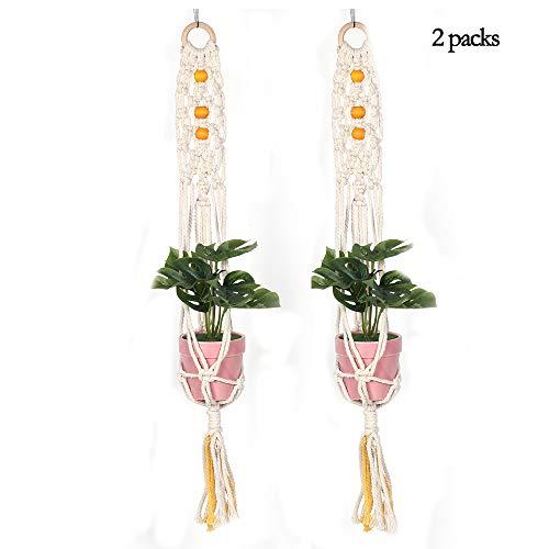 planter Macrame Plant Hangers Ophanging, Boheemse Decor Stijl Indoor Decoratie Voor Kantoor Thuis Kamer BalkonKatoen Touw 4 Benen 2 Packs