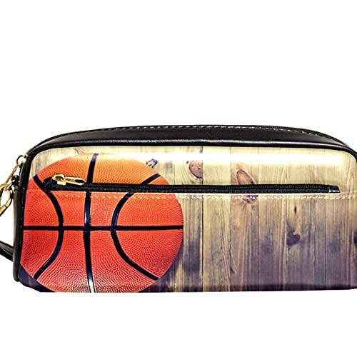 Estuche de madera para lápices de baloncesto retro con gran capacidad para lápices, organizador para la escuela, adolescentes, niños, niñas, hombres y mujeres