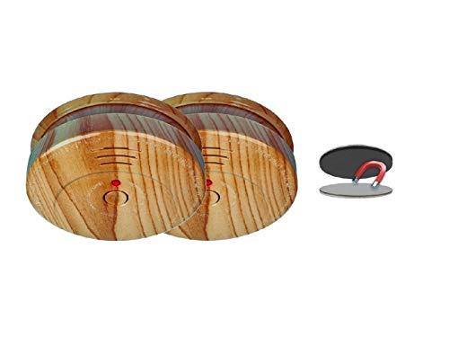 2er-SET Rauchmelder in Holzoptik mit 5 Jahres Batterie & EASY Magnetbefestigung