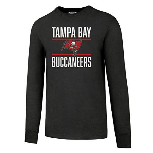 OTS NFL Tampa Bay Buccaneers Men's Rival Long Sleeve Tee, Charcoal Double Bar, XX-Large