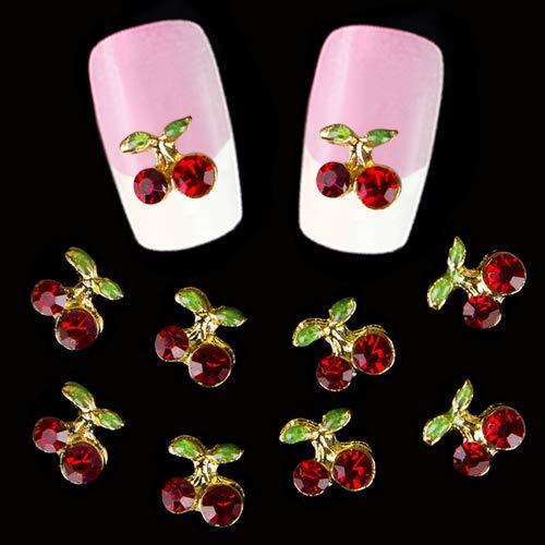 """Hearsbeauty 10 Pièces Brillant 3D Cerise Forme Nail Art Bricolage Strass Goujons Paillettes Charmes Jeter Cadeaux Manucure Outil 0,39""""x 0,39"""""""