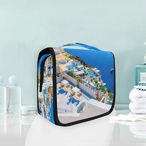 Montoj - Bolsa de aseo colgante grande Grecia Santorini Caldera para viajes, impermeable, bolsa organizadora multifuncional