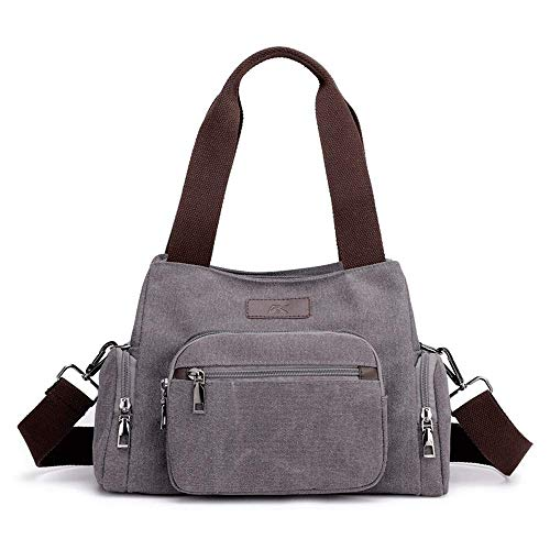 RUXMY Casual Shoulder Bags Women's Multi Compartment Canvas Handle Shoulder Bags Crossbody Tote Purse With Removable Strap Women's Canvas Shoulder Bags (Color : Black, Size : Free Size)