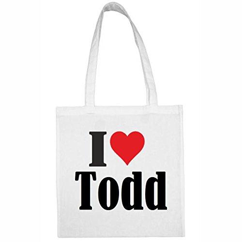 Tasche I Love Todd Größe 38x42 Farbe Weiss Druck Schwarz
