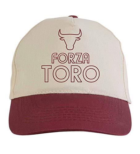 Casquette brodée Forza Toro blanc grenade – Polyester, 5 panneaux, réglage en Velcro