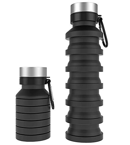 Trooer Collapsible Water Bottle BPA Free, Food-Grade Silicone Leakproof Portable Sports Water Bottle with Carabiner for Travel Gym Hiking Camping