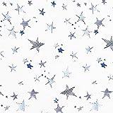 Fabulous Fabrics Blusenstoff Viskose Sterne – blau/Weiss