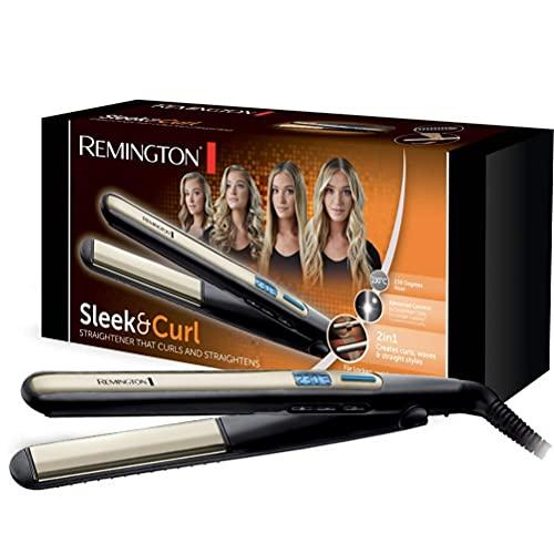Remington Glätteisen Sleek & Curl (abgerundetes Design -ideal zum Glätten & Stylen von Locken und Wellen, hochwertige Ultra-Turmalin-Keramikbeschichtung) LCD-Display, 150-230°C, Haarglätter S6500