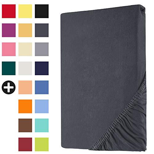 Heim24h Spannbettlaken Jersey Spannbetttuch Bettlaken für Boxspringbett Wasserbett Steghöhe von 18 bis 30 cm 100% Baumwolle elastisch atmungsaktiv und weich Anthrazit 200x200-200x220 cm