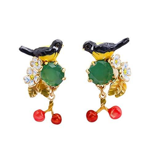BBYT Aretes Pendientes de guirnaldas de Esmeraldas y Piedras Preciosas de Esmeralda con Esmeralda Amarilla.