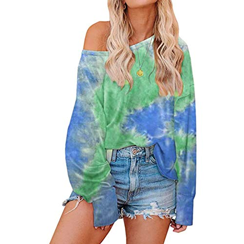 Womens Tie Dye Printed Long Sleeve Sweatshirt Crew Neck Casual Loose Pullover Tops Shirts E-Scenery