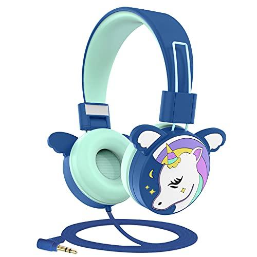 Puersit - Auriculares de Diadema para niños con Cable, para niños, con límite de Volumen de 85 dB, Auriculares Plegables para la Escuela, Viajes, Compatible con teléfonos móviles, tabletas