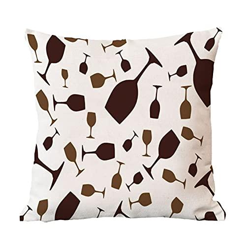 DKISEE Fundas de almohada de lino de algodón, funda de almohada de copa de vino, funda de almohada de decoración de sofá, funda de almohada de 22 pulgadas x 55 cm