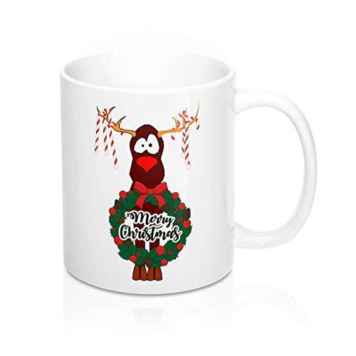 Funny Coffee Mug Christmas Mug Christmas Greetings Mug Candy Canes Reindeer Mug Holiday Mug Novelty Birthday Gift Tea Mug,11oz,White