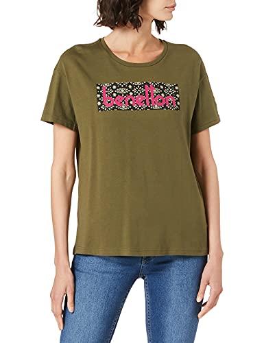 United Colors of Benetton T-Shirt 3BL0E19E9 Camiseta, Verde Militar 35a, L para Mujer