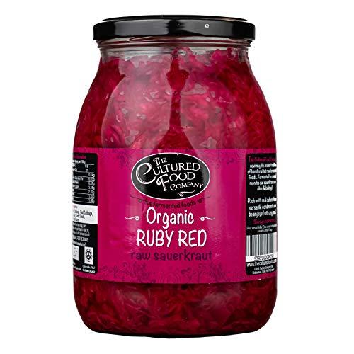 The Cultured Food Company Ruby Red Sauerkraut Bio 1 KG - Unpasteurisiertes Sauerkraut mit Rotkohl & Kümmel - Traditionell fermentiert mit lebendigen Kulturen - Bio, Roh, Vegan - 1 x 1 KG Glas