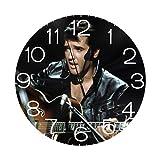 エルビスプレスリー 壁掛け時計 おしゃれ デジタル ミュート 円形 掛け時計 置き時計 目覚まし時計 インテリア 装飾