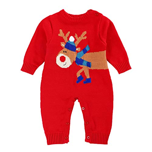 Baby Sweater Kid's Christmas Outfits for Boys and Girls (Red, 6-12Months)