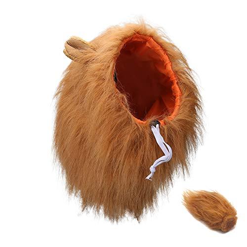 Vivifying Disfraz de melena de león ajustable, peluca de melena de león con orejas y cola para perros medianos y grandes, disfraz de Halloween