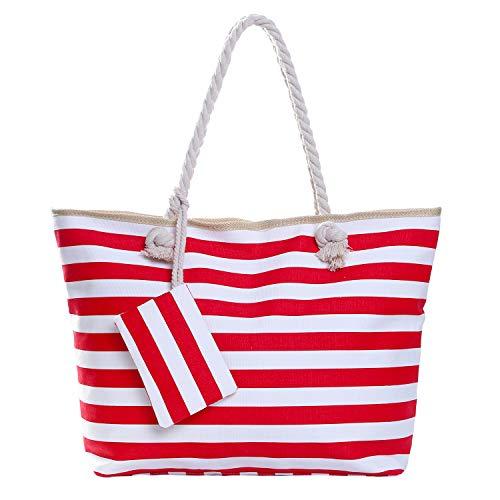 Grote waterafstotende strandtas met rits 58 x 38 x 18 cm gestreept rood wit shopper schoudertas