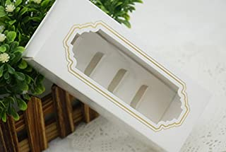 S.P.S Clear Plastic Paper Gold Design Macaron Cake Box Container Holder Small, 10 Boxes, (16x7x5cm)