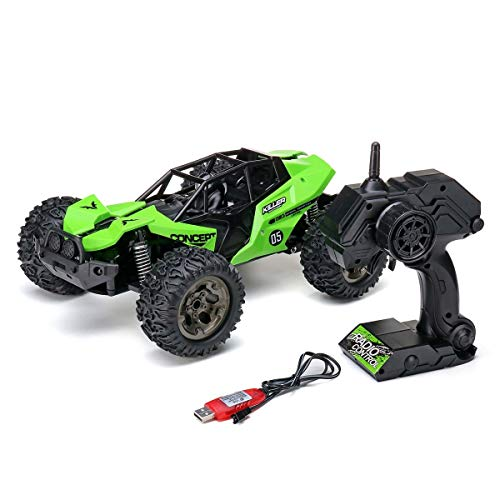 S2F5 Fernbedienung Stunt Car 2.4Ghz RC Car 55km / H 4WD High-Speed-Rennwagen Climbing Fernbedienung Elektro-Auto-Geländewagen LKW 01.12 Drift Geschenke for Jungen (Color : Green)