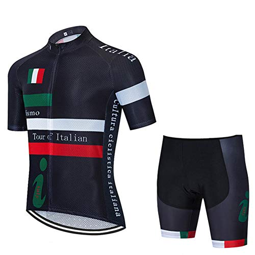Estate Mens Cycling Jersey Manica Corta Italy National Team - Corsa Club PRO Road Mountain Bicycle Bicycle Bike Jersey, Quick Dry Compression Combo Set (Size : XX-Large)