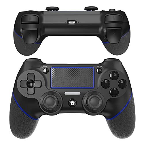 JOYSKY Wireless Controller Bluetooth Gamepad mit Dual Vibration Wiederaufladbarer Remote-Sechs-Achsen-Dual Vibration- und Audio Jack Controller (Schwarz/Blau)