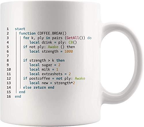 Kaffeepause Keramik Tasse Programmierer Becher- Informatik Geschenkbecher- Codierung Kaffeetasse- 11 Unzen Neuheit Keramik Kaffee Tee Tasse Becher Weiß