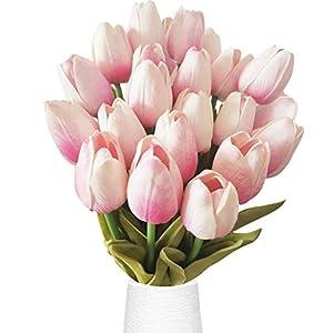 "Silk Flower Arrangements 20 Heads Tulips Artificial Flowers Real Touch Tulips Silk Artificial Tulips Flower for Bouquet Room Centerpiece Party Wedding Office Home Decoration Thanksgiving 13.4"" Tulips (Pink)"