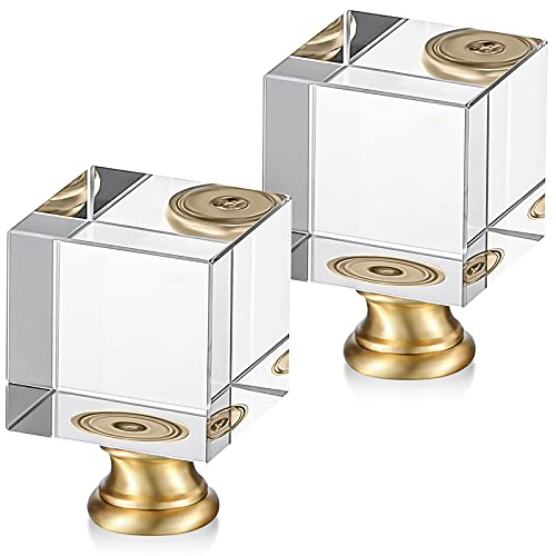 2 Pieces Cube Crystal Lamp Finial Clear Square Lamp Finial Cap Knob Top Knob Lamp Finial with Chromed Base for Lamp Shade Lamp Decoration, 1-4/5 Inches Tall (Clear, Gold)