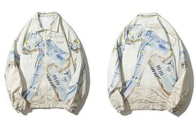 Robot Print Windbreaker Jacket Streetwear Hip Hop Casual Full Zip Jackets Coats Mens Fashion Tops Outwear