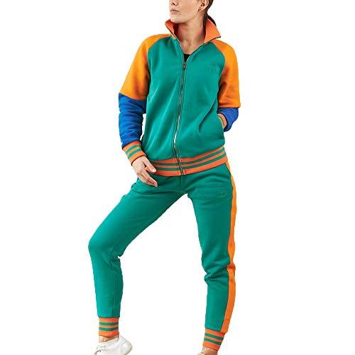Concpt ® Jogginganzug Olivia/Ova Damen Freizeitanzug Baumwolle Sportanzug Frauen Trainingsanzug mit Streifen Taschen Fitnessanzug für Running Yoga Gym Wandern Freizeit (Grün, m)