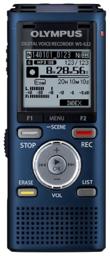 Olympus WS-822 Blue Voice Recorders with 4 GB Built-In-Memory