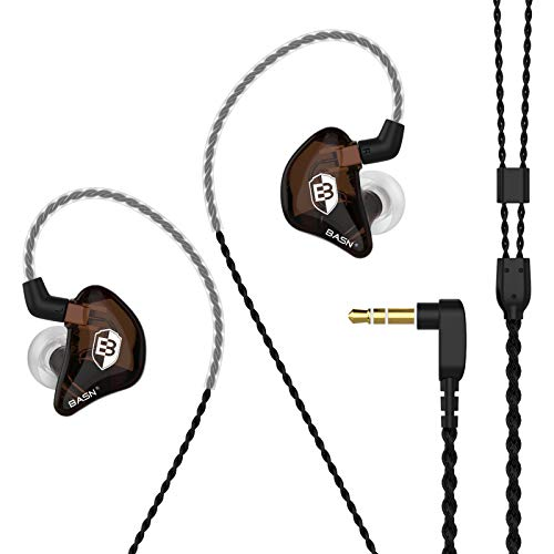 BASN Bsinger BC100 in Ear Monitor Headphones Universal Fit Noise Cancelling IEM Earphones for Musicians Singers Studio Audiophiles (Brown)