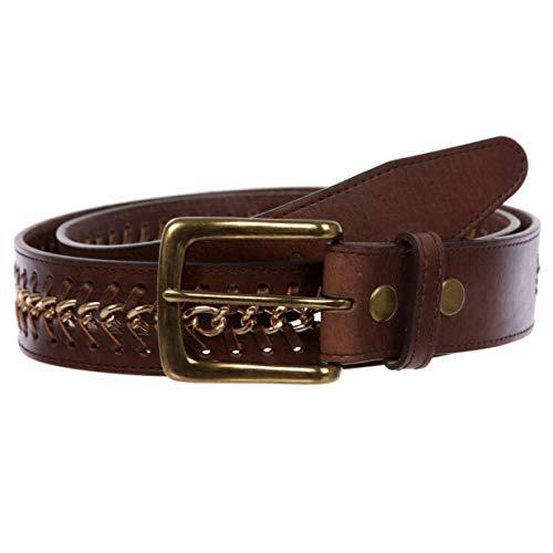 Cinturón de piel de vacuno con borde de cadena de metal para hombre