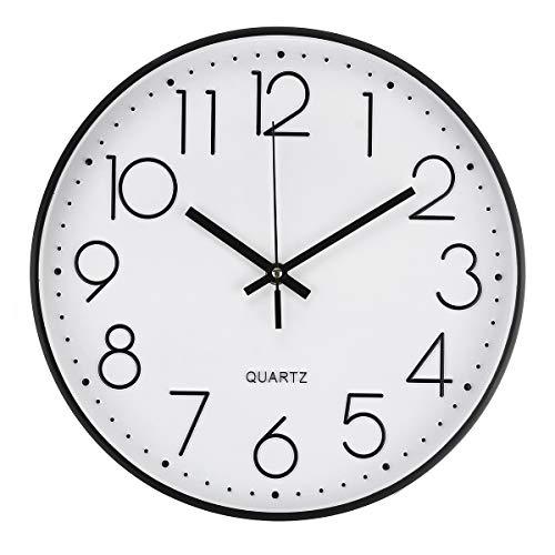 Jeteven® 30cm Rund Wanduhr Kinderuhr mit geräuscharmem Uhrwerk mit schleichender Sekunde groß Quarz-Wanduhr ohne Tickgeräusche modern für Wohn- /Schlaf- / Kinderzimmer Büro Cafe Restaurant (Schwarz)