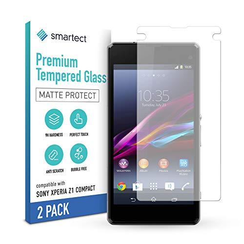smartect Cristal Templado para Móvil Sony Xperia Z1 Compact [2x MATE] - Protector de pantalla 9H - Diseño ultrafino - Instalación sin burbujas - Anti-huella