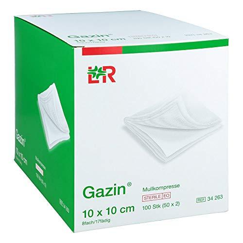 Gazin, Mullkompressen 10 cm x 10 cm steril 8fach 50x2 300 g, Weiss, 100 stück, (Pack of 50)