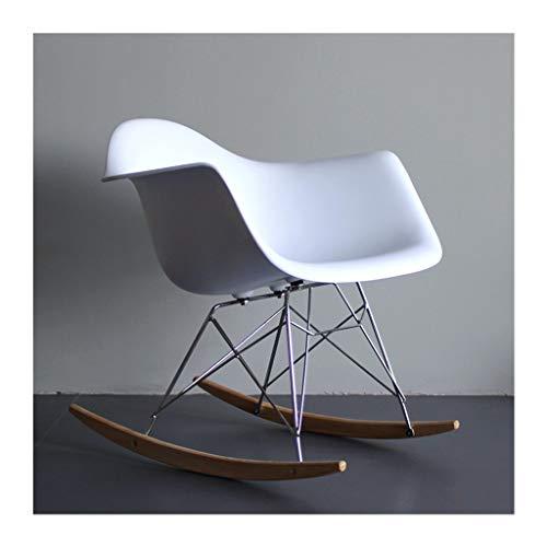 HYYTY-Y Silla Mecedora Individual de plástico, Eames Lazy Couch, Terrace Lounge Chair - Selección Multicolor 705-YY (Color : White)