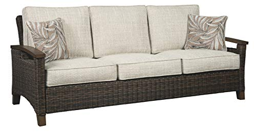 Signature Design by Ashley Paradise Trail Outdoor Wicker Patio Sofa with Pillows, Medium Brown