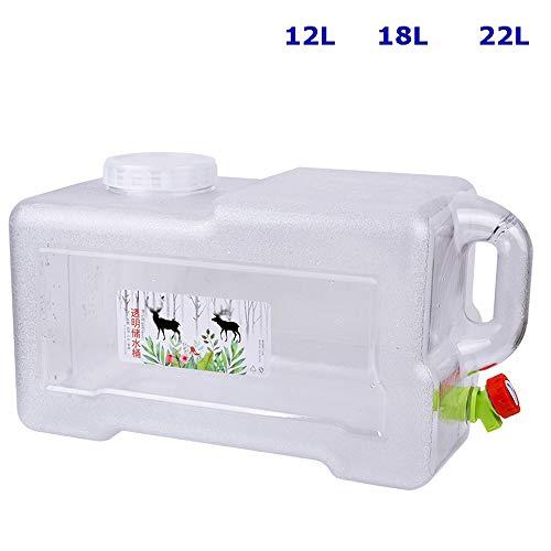 Guoda Wasserkanister  PC-Material In Lebensmittelqualität   Mit Verlängerungsrohr   Wasserhahn   Tragbar   Transparent (Size : 18L)