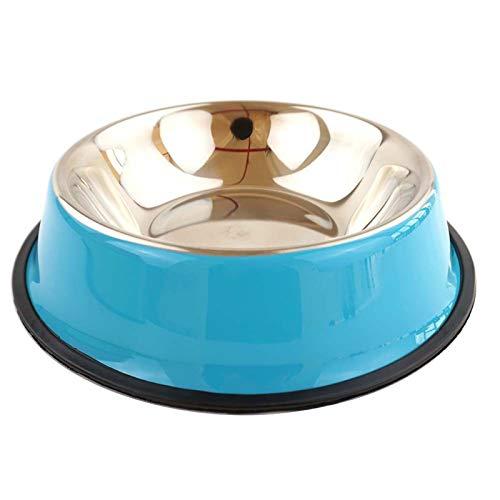 YYQQ Cuenco Metálico para Mascotas Cuencos De Acero Inoxidable para Perros con Base De Goma Antideslizante para Comida O Agua Plato Perros, Cachorros, Gatos Y Gatitos,Azul