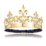 DcZeRong Adult Men King Crown Birthday Crown Big Size Crown Prom King Crown Homecoming King Rhinestone Crown Large Size King's Crowns Gold