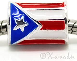 OutletBestSelling Bracelet Puerto Rican Flag European Bead Cylindrical Puerto Rico Flag For Charm Bracelets
