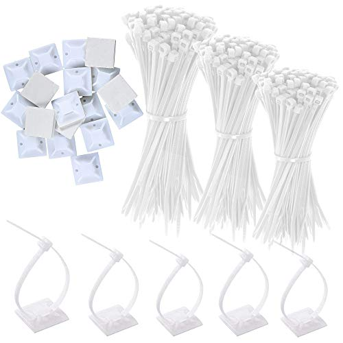300 Pieces Cable Ties, Nylon Wrap Zip Ties with 100 Pcs Self Adhesive Wire...
