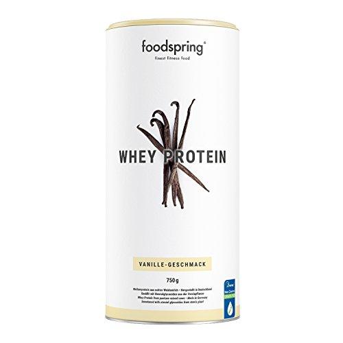 foodspring Proteína Whey, Sabor Vainilla, 750g, Fórmula en polvo alta en proteínas para unos músculos más fuertes, elaborada con leche de pastoreo de primera calidad
